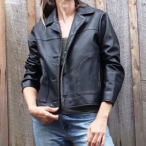 Distressed Black Leather Jacket -
